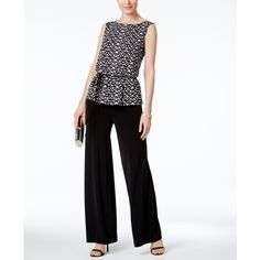 Connected Petite Printed Peplum Wide-Leg Jumpsuit ($60) ❤ liked on Polyvore featuring jumpsuits, black, wide leg jumpsuits, peplum jumpsuit, petite jumpsuit and jump suit