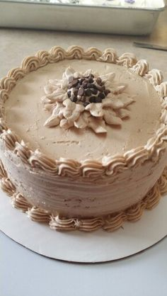 Mocha Chiffon Cake with Mocha Swiss Meringue Buttercream Frosting