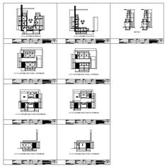 modular kitchen cabinet details complete with base floor plan, wall plan, wall elevations and sections