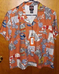 a623e130e Details about NEW Harley-Davidson Vintage Ads Pattern Women's Silk Button  Front Shirt L $82