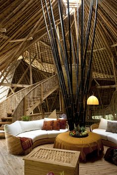 48 Sustainable Bamboo House Design That Make Cozy > Fieltro. Bamboo Building, Natural Building, Bali Architecture, Sustainable Architecture, Bamboo House Design, Bamboo Structure, Bamboo Construction, Bamboo Furniture, Tropical Houses