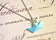 Polymer clay paper boat origami pendant necklace - paper boat necklace, origami necklace, polymer clay necklace