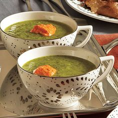 Fennel and Spinach Soup with Roasted Pepper Yogurt by Cooking Light