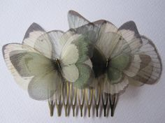 I Will Fly Away - Sage Green Butterflies and Ivory Wings Hair Comb Bronze Hair, Butterfly Images, Green Day, Blue Green, Green Butterfly, Wing Necklace, Silk Organza, On Your Wedding Day, Hair Comb
