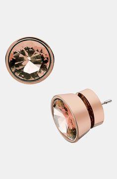 Michael Kors - rose gold & quartz stud earrings