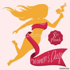 Beautiful Woman Silhouette with a Bouquet and Ribbon for Women's Day