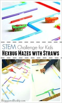 STEM Challenge for Kids: Build a Hexbug Maze with Straws (Fun science and engineering activity for a class or to do on a rainy day!)