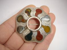 SUPERB LARGE ANTIQUE VICTORIAN SCOTTISH AGATE SILVER PEBBLE BROOCH PIN c.1875