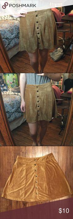 Selling this Tan/Caramel Suede Corduroy Button Down Skirt on Poshmark! My username is: amberisaac11. #shopmycloset #poshmark #fashion #shopping #style #forsale #Dresses & Skirts