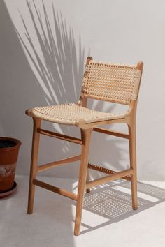 """counter / bar stool available for preorder, lead time : 10-12 weeks available in two seat heights : 25"""" (counter stool) and 30"""" (bar stool) made of sustainably sourced teak wood and natural rattan handmade with love by our talented artisans in bali - there is a variation between natural materials, making each piece uni Wicker Counter Stools, Woven Bar Stools, Counter Stools With Backs, Rattan Bar Stools, Stools For Kitchen Island, Unique Bar Stools, Casa Wabi, Farmhouse Stools, Modern Farmhouse"""