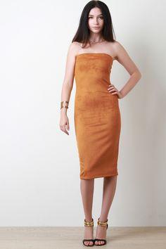 fa353edfed Vegan Suede Tube Fitted Midi Dress