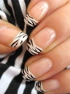Zebra Print Nails Design,White and Black zebra-stripe nails for girls,Zebra Print Nails Art  #zebra #nails #christmas www.loveitsomuch.com