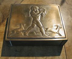 """Bacchus"" cigarette box. Incredibly rare Rockwell Kent design for Chase Chrome and Brass.  Incised ""R.K."""
