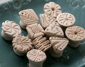 Clay Texture Stamps, For Pottery, Polymer Clay, CHOOSE YOUR PATTERN, Set of 4, Round, Square, Flower, Triangle, Personalized, Made To Order Ceramic Tools, Ceramic Decor, Ceramic Clay, Stoneware Clay, Ceramic Pottery, Clay Tools, Bisque Pottery, Ceramics Projects, Clay Projects