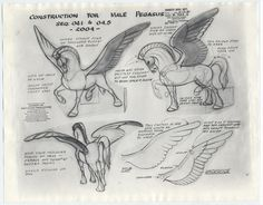 fantasia character sheets | Disney FANTASIA Animation Model Sheets MALE + FEMALE PEGASUS for ...