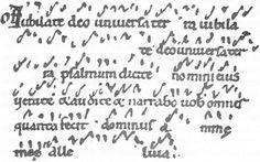 Les premiers Neumes  permettaient au chantre, grâce aux accents graves ou aigus, de retrouver la mélodie mémorisée à l'oreille. / IXe siècle.