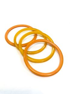 Four Thin Bakelite Bangles of Orange & Translucent Marbled Butterscotch, Fall Color Vintage Retro Jewelry