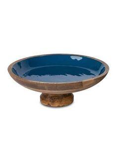 GG Collection G G Collection Deep Blue Wood & Enamel Pedestal Bowl