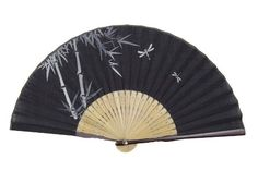 Japanese Silk Handheld Fan, with Bamboo and Dragonflies