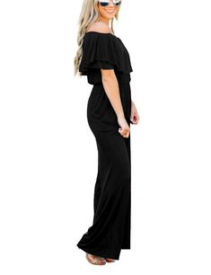 fd1b37cdcc1d Lookbook Store Womens Sexy Off Shoulder High Waisted Ruffled Long Wide Leg  Pants Black Jumpsuits Rompers