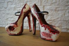 Zombie Flesh Heels -Personalized Heels-Made to Order- Halloween shoes - Perfect gift 100% handmade #zombie #flesh #heels #halloween #custom #shoes