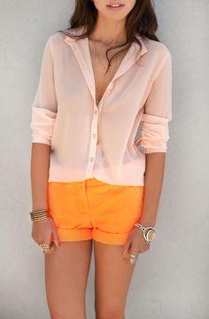 Peach shirt orange shorts