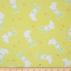 Kanvas Bunny Hop Flannel Hunny Bunny Lemon from @fabricdotcom  Designed by Greta Lynn for Kanvas Studios in association with Benartex, this soft double napped (brushed on both sides) flannel cotton print is perfect for quilting and apparel. Colors include brown, green, white, and shades of yellow.