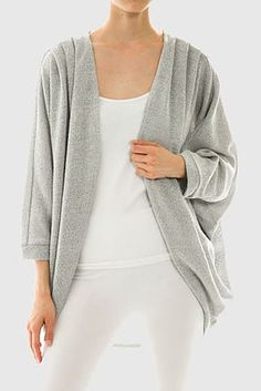 Solid batwing sleeve cardigan  50% Poly 50% Cotton  31' long