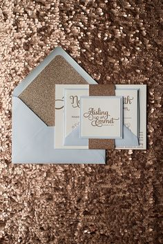 Soft Blue and Rose Gold Wedding Invitations in Glitter