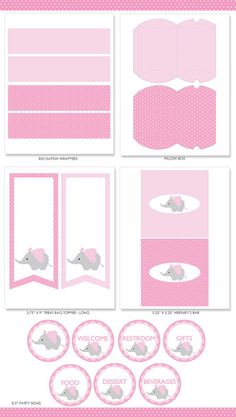Pink Elephant Baby Shower Party Package Pink Elephant