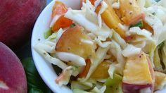 """Thornehedge Peach Slaw ; """"A refreshing summer slaw that blends the flavor of peaches, savoy cabbage, red bell peppers, and pecans. I first enjoyed this slaw at a garden party in Charleston several years ago and have served it each summer since to the delight of family and friends."""""""