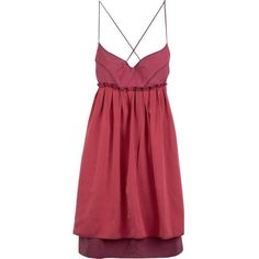 Pre-owned Narciso Rodriguez Dress (4.114.770 IDR) ❤ liked on Polyvore featuring dresses, pink, spaghetti strap cocktail dress, red silk dress, red spaghetti strap dress, empire waist dresses and red cocktail dress