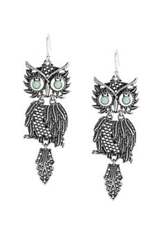 Lucky Brand Jewelry Owl Earrings Turquoise