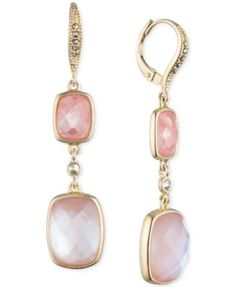 Judith Jack 10k Gold-Plated Sterling Silver Pink Crystal and Marcasite Double Drop Earrings