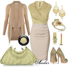 """Green & Beige"" by stay-at-home-mom on Polyvore"