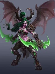 Female Demon Hunter - The new playable class in the upcoming World Of Warcraft expansion ! The legendary wielding demon hunter !