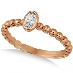 Oval Cut Diamond Beaded Solitaire Ring 14k Rose Gold (0.25ct) - allurez.com