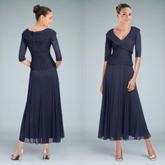 New Arrival Dark Navy Tea Length Mother Of The Bride Dresses With Sleeve A Line V Neck Ruched Chiffon Modest Groom Wedding Party Gowns Beaded Mother Of The Bride Dresses Beautiful Mother Of The Bride Dresses From Weddingfactory, $122.36| Dhgate.Com
