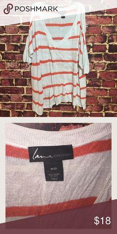 💜 Lane Bryant striped v-neck asymmetric knit top Size 18 / 20. Pullover knit top with asymmetric hem. Viscose, silk. EUC Lane Bryant Tops