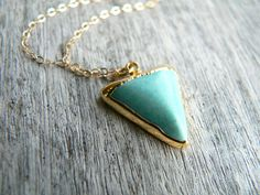 Turquoise Triangle Pendant Gold Necklace
