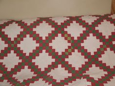 April the 10, 1843. Here is a rare find! A lovely old Irish Chain quilt in red and green on white. It is in surprisingly good condition for the age of this piece. On the pictures you can see where I pointed out some of the imperfections. | eBay!