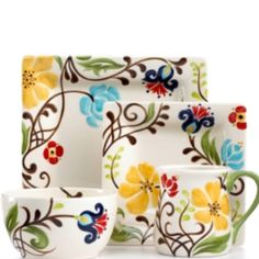 Vida by Espana Dinnerware, Jardine Square 4 Piece Place Setting – Casual Dinnerware – Dining & Entertaining – Macy's Casual Dinnerware, Dinnerware Sets, Pottery Painting, Ceramic Painting, Paint Your Own Pottery, Boho Home, Dinner Sets, China Patterns, Porcelain Vase