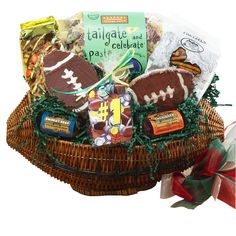 This GREAT gift for the sports lover in your life features a keepsake wicker football basket all kinds of treats to enjoy on game day. #football #sports #tailgate $49.99 www.artofappreciation.com
