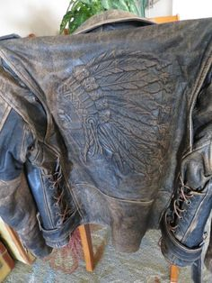 Vintage Leather Indian Motorcycle Biker Jacket