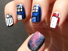 nails nailart nail art mani manicure Spellbound Doctor Who Tardis Galaxy bow tie suspender DW BBC