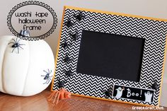 washi tape halloween frame--so easy, and the tape can be peeled off and a new set of tape put on! From create craft love.