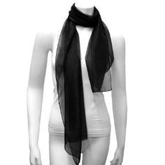 Black Long Sheer Elegant Chiffon Scarf Wrap Luxury Divas. $5.50