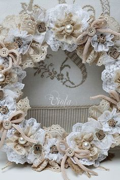 types of flowers for living room valence?  Shabby Chic Inspired: Lace/Floral Wreath