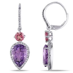 Shop for Miadora Signature Collection White Gold African Amethyst Pink Tourmaline TDW Diamond Dangle Earrings Get free delivery On EVERYTHING* Overstock - Your Online Jewelry Destination! Purple Jewelry, Rhinestone Jewelry, Gemstone Jewelry, Diamond Dangle Earrings, Pink Tourmaline, Dangles, Fine Jewelry, White Gold, Gemstones