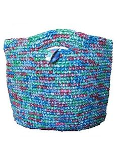 Funky Junk Recycled bags- fantastic tote bags crocheted from recycled plastic bags not only dealing with an environmental problem but offering dignified employment and hope to a few. ethicalgiftsau - visit my blog -